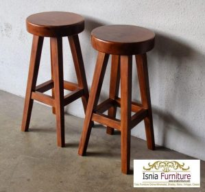 Kursi Bar Stool Ukuran Mini Kayu Jati