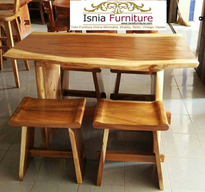 Set Meja Cafe Trembesi 4 Kursi Mini Harga Murah