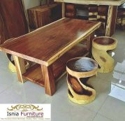Meja Makan Minimalis Kayu Trembesi Solid With Stool