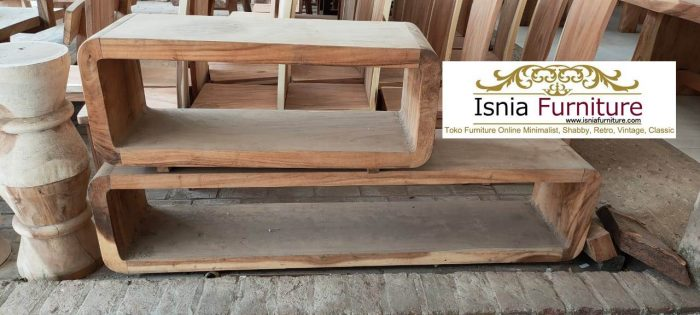 meja tv kayu trembesi solid unik